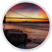 The Gate Of Gold  Round Beach Towel