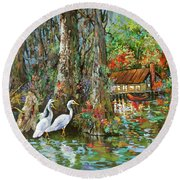 The Gathering - Louisiana Swamp Life Round Beach Towel