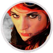 The Gaze Of Steam Punk Vixen Round Beach Towel