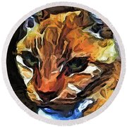 The Gaze Of The Gold Cat Round Beach Towel