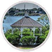 Round Beach Towel featuring the photograph The Gazebo by Tom Prendergast