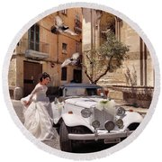 The Runaway Bride.taranto. Italy Round Beach Towel by Jennie Breeze