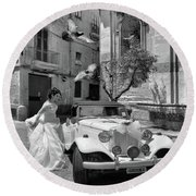 The Runway Bride.taranto. Italy.bw Round Beach Towel by Jennie Breeze