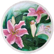Round Beach Towel featuring the painting The Gift by Margaret Bobb