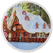 The Gingerbread House Round Beach Towel by Eddie Yerkish