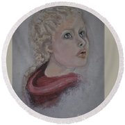 The Girl In The Red Coat Round Beach Towel