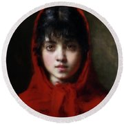 The Girl In The Red Shawl Round Beach Towel