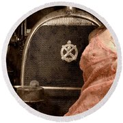 Round Beach Towel featuring the photograph The Girl On The Background Of Vintage Car. by Andrey  Godyaykin