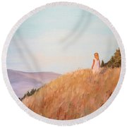 Round Beach Towel featuring the painting The Girl On The Hill by Alan Lakin