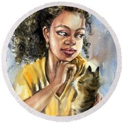 The Girl With A Cat Round Beach Towel