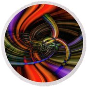 The Girl With Kaleidoscope Eyes Round Beach Towel by Cathy Donohoue