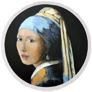 Round Beach Towel featuring the painting The Girl With The Pearl Earring  by Jodie Marie Anne Richardson Traugott          aka jm-ART