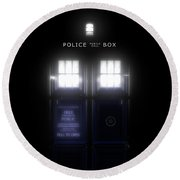 The Glass Police Box Round Beach Towel