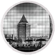 Round Beach Towel featuring the photograph The Glass Windows Of The Market Hall In Rotterdam by RicardMN Photography