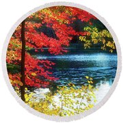 The Glory Of A New England Autumn Round Beach Towel