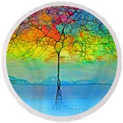 The Glow Tree Round Beach Towel