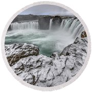 The Godafoss Falls In Winter Round Beach Towel