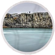 The Godafoss Falls Pano Round Beach Towel