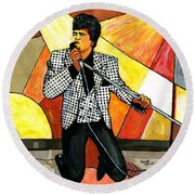 The Godfather Of Soul James Brown Round Beach Towel by Everett Spruill