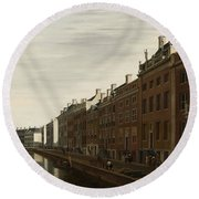 The Golden Bend In The Herengracht, Amsterdam, Seen From The West, 1672 Round Beach Towel
