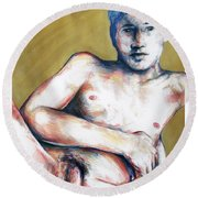 Round Beach Towel featuring the painting The Golden Boys Stares Back  by Rene Capone