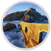 The Golden Bridge Round Beach Towel