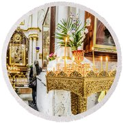 The Golden Candle Stand Round Beach Towel