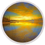 The Golden Clouds Of Winter Round Beach Towel