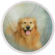 Round Beach Towel featuring the mixed media The Golden by Colleen Taylor