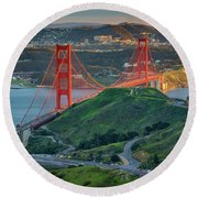 The Golden Gate At Sunset Round Beach Towel