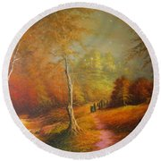 Golden Forest Of The Elves Round Beach Towel