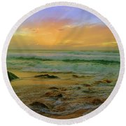 Round Beach Towel featuring the photograph The Golden Moments On Molokai by Tara Turner