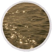 Round Beach Towel featuring the photograph The Golden Ocean by RKAB Works