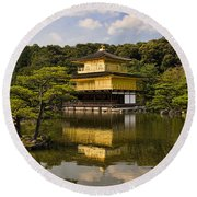 The Golden Pagoda In Kyoto Japan Round Beach Towel