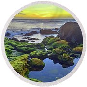Round Beach Towel featuring the photograph The Golden Skies Of Molokai by Tara Turner