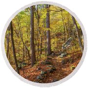 Round Beach Towel featuring the photograph The Golden Trail by Lori Coleman