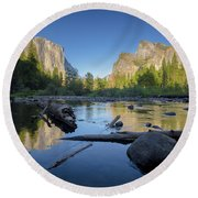 The Golden Valley Round Beach Towel