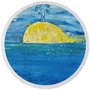 The Golden Whale Round Beach Towel