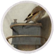 The Goldfinch, 1654  Round Beach Towel by Carel Fabritius