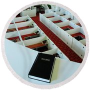 Round Beach Towel featuring the photograph The Good Book by James Kirkikis