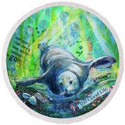 Round Beach Towel featuring the painting The Good Life by TM Gand