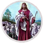 The Good Shepherd 1878 Bernhard Plockhorst Round Beach Towel