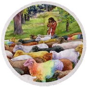 The Good Shepherd Round Beach Towel by Anne Gifford