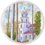 Good Shepherd Catholic Church In Beverly Hills, California Round Beach Towel