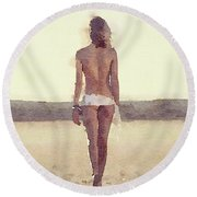 The Goodbye By Mary Bassett Round Beach Towel