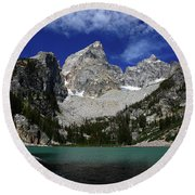 The Grand And Mount Owen From Delta Lake Round Beach Towel