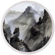Round Beach Towel featuring the drawing The Grand Canyon Drawing            by Thomas Moran