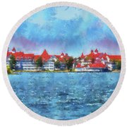 The Grand Floridian Resort Wdw 03 Photo Art Mp Round Beach Towel