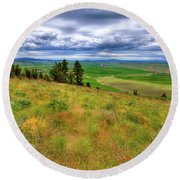 The Grasses Of Kamiak Butte Round Beach Towel