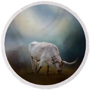 The Grazing Texas Longhorn Round Beach Towel